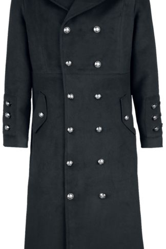H&R London Classic Military Coat Wintermantel schwarz