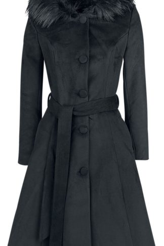 H&R London Ella Swing Coat Mantel schwarz