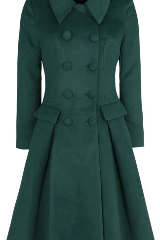 H&R London Evelyn Swing Coat Mantel grün