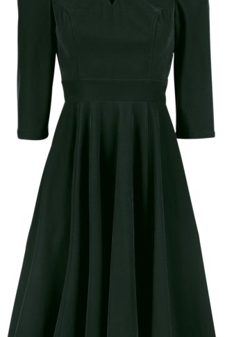 H&R London Glamorous Velvet Tea Dress Mittellanges Kleid dunkelgrün