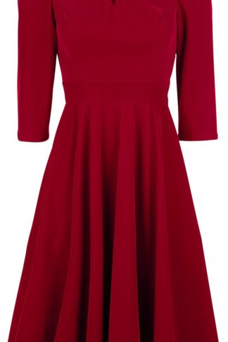 H&R London Glamourous Velvet Tea Dreams Dress Mittellanges Kleid rot