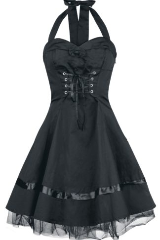 H&R London Lace Cotton Dress Kurzes Kleid schwarz