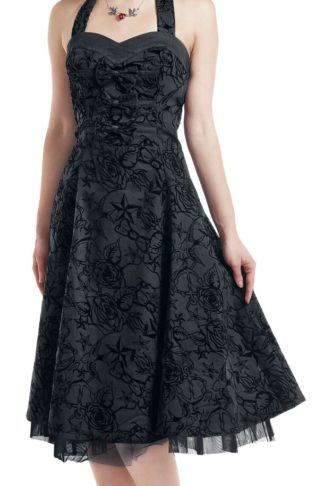 H&R London Longue tattoo Dress Mittellanges Kleid schwarz