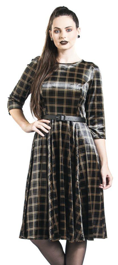 H&R London Luna Swing Dress Mittellanges Kleid schwarz