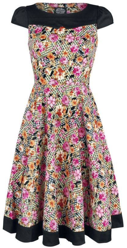 H&R London Peony And Zephyranthes Floral Tea Dress Mittellanges Kleid multicolor