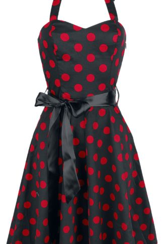 H&R London Polka Dot Dress Mittellanges Kleid schwarz/rot