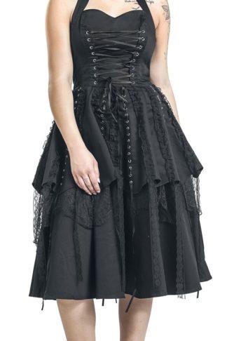 H&R London Pretty Pirate Long Dress Mittellanges Kleid schwarz