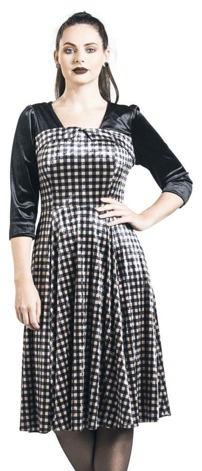 H&R London Velvet Dream Dress Mittellanges Kleid schwarz/beige