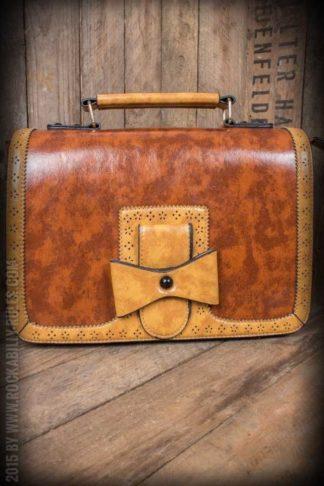 Handtasche - Vintage mit Schleife, braun von Rockabilly Rules
