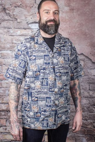 Hawaii Hemd Greetings from Hawaii, Navy von Rockabilly Rules