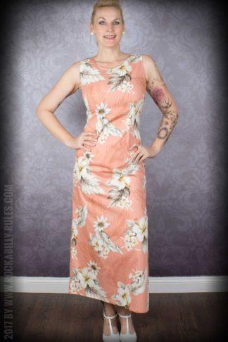Hawaii Kleid Hibiskus, pfirsich von Rockabilly Rules