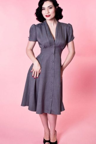 Heart of Haute - Manhattan Dress Skyscraper Grey von Rockabilly Rules
