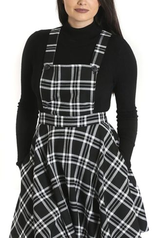 Hell Bunny Islay Pinafore Dress Mittellanges Kleid schwarz/weiß