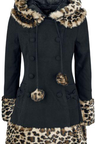 Hell Bunny Leah Jane Coat Mantel schwarz/leo