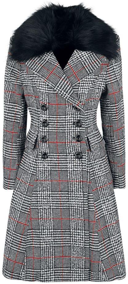 Hell Bunny Pascale Coat Mantel schwarz/weiß/rot