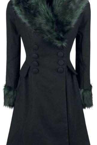 Hell Bunny Rock Noir Coat Wintermantel schwarz/grün