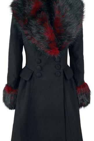 Hell Bunny Rock Noir Coat Wintermantel schwarz/rot