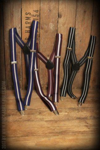 Hosenträger mit Clips, verschiedene Streifen-Designs von Rockabilly Rules