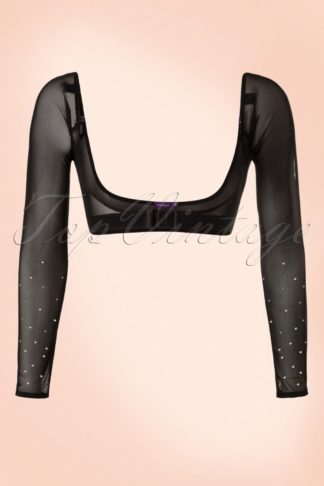 Jolie Long Crystal Mesh Sleeves in Black