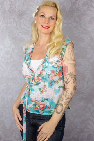King Louie - Top Abby Wrap Blossom, blau von Rockabilly Rules