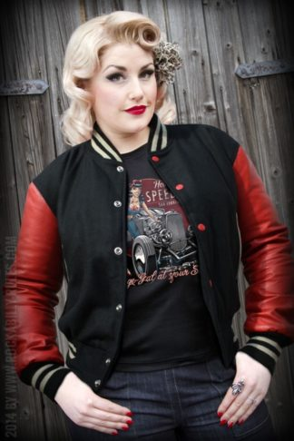 Lady Leder Baseball Jacke - schwarz von Rockabilly Rules
