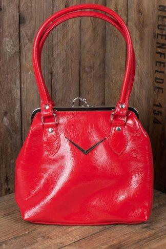 Liquorbrand V8 Handtasche Chevron Kisslock, rot von Rockabilly Rules