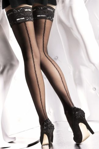 Melita Patterned Hold Ups in Black