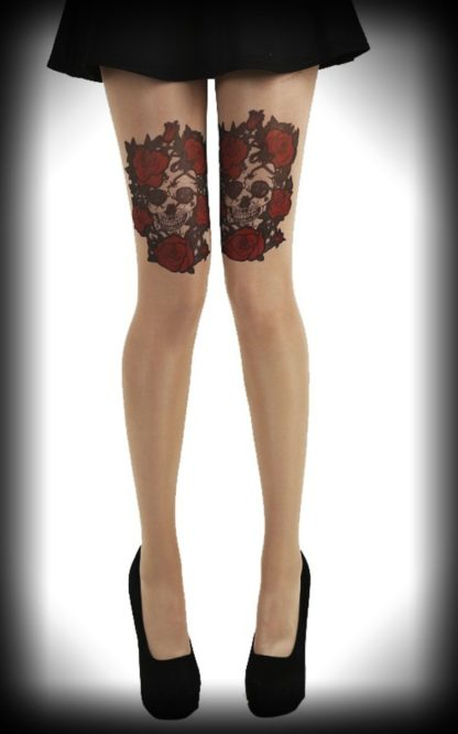 Nylon Strumpfhose Skull and Roses von Rockabilly Rules