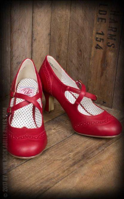 Pleaser Kitten Heels - Flapper, rot von Rockabilly Rules