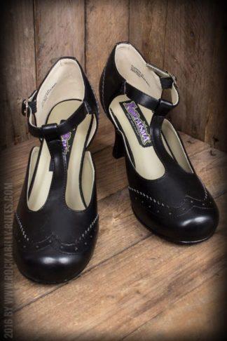 Pleaser Kitten Heels Wingtip T-Strap, schwarz von Rockabilly Rules