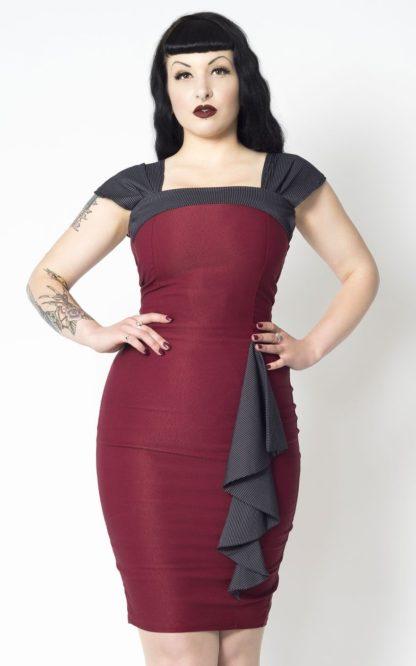 Putre Fashion Pencil Skirt Dress Love Affair, bordeaux von Rockabilly Rules