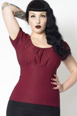 Putre Fashion Trixie Top, Burgundy von Rockabilly Rules