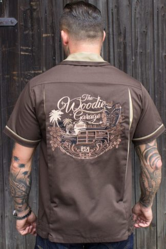 Rumble59 - Bowling Shirt - The Woodie Garage - braun von Rockabilly Rules
