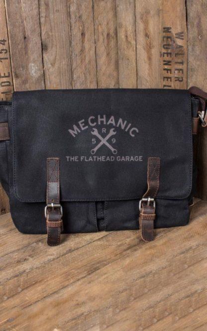Rumble59 - Canvas Workerbag - The Flathead Garage - schwarz von Rockabilly Rules