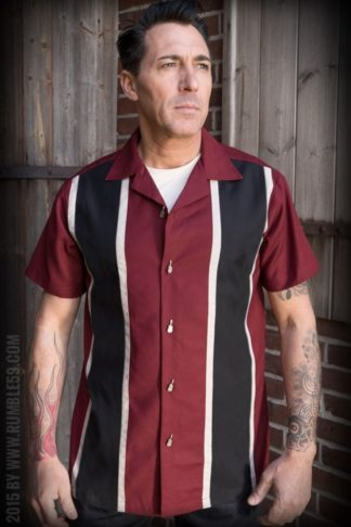 Rumble59 - Classic Shirt - Two Stripes RedWine von Rockabilly Rules