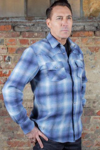 Rumble59 - Flannel Shadow Plaid Shirt | Flanellhemd, blau von Rockabilly Rules
