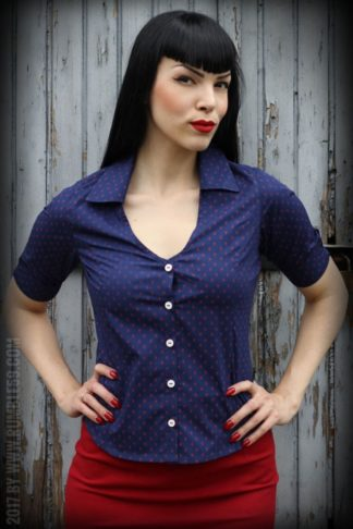 Rumble59 Ladies - Bluse Anchors Forever - blau/rot von Rockabilly Rules