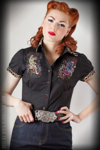 Rumble59 Ladies - Bluse Born to be wild - Leopatch von Rockabilly Rules