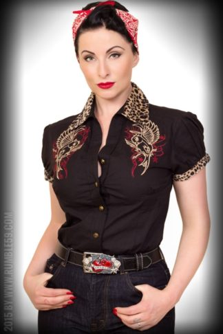 Rumble59 Ladies - Bluse Heaven 'n' Hell - Leopatch von Rockabilly Rules