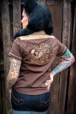 Rumble59 Ladies - Bluse The Woodie Garage - braun von Rockabilly Rules