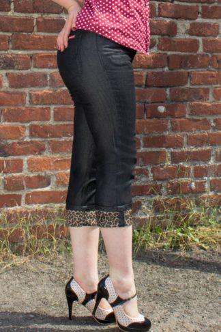Rumble59 Ladies Denim - Black Capri Jeans - Leopatch von Rockabilly Rules