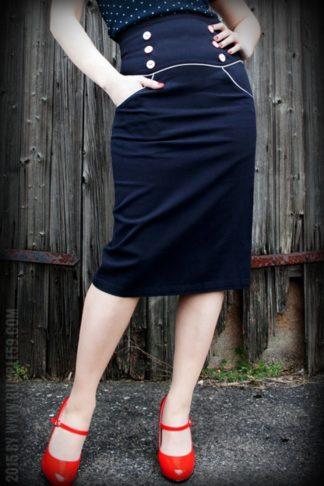 Rumble59 Ladies - High Waisted Pencil Skirt - Ahoi Sailor! von Rockabilly Rules