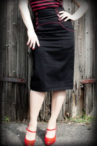Rumble59 Ladies - High Waisted Pencil Skirt - Red Line von Rockabilly Rules
