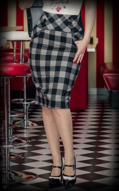 Rumble59 Ladies - High Waisted Pencil Skirt - kariert von Rockabilly Rules