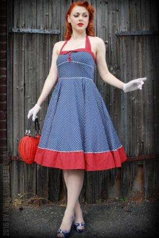 Rumble59 Ladies - Neckholder Petticoatkleid - Sweet Polkadots - dunkelblau von Rockabilly Rules