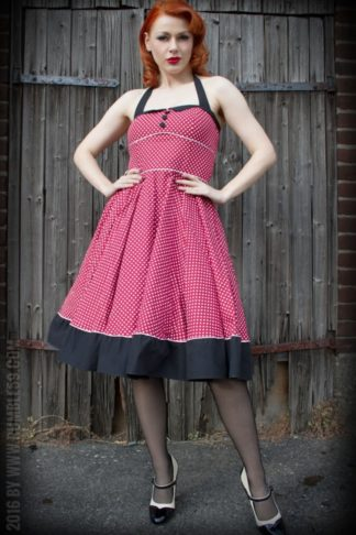 Rumble59 Ladies - Neckholder Petticoatkleid - Sweet Polkadots - weinrot von Rockabilly Rules