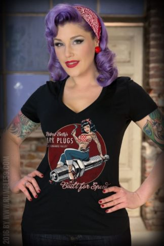 Rumble59 - Ladies V-Neck Shirt - Hotrod Betty's Spark Plugs von Rockabilly Rules
