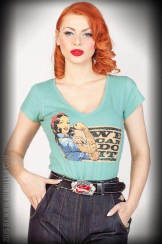Rumble59 - Ladies V-Neck Shirt - We can do it! - lindgrün von Rockabilly Rules