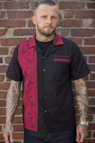 Rumble59 - Lounge Shirt - Swallows 'n' Anchors - bordeaux von Rockabilly Rules