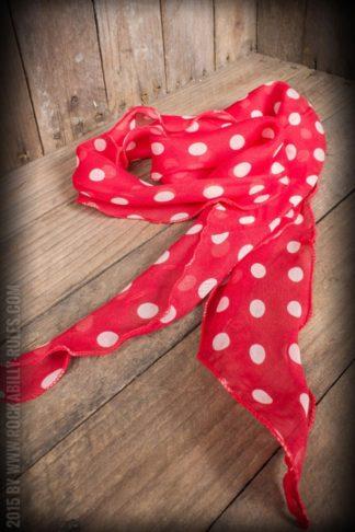 Schal / Halstuch / Haarband Polkadot, rot weiß von Rockabilly Rules